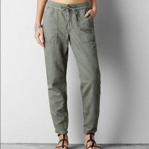 AEO | Grey Khaki Linen pants with snap at leg